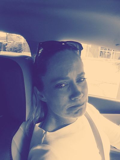 Taken On Mobile Device Taken By M. Leith M. Leith Mein Automoment Cry In The Car Woman Crying REAL EMOTIONS Not Posed Filtered Blue