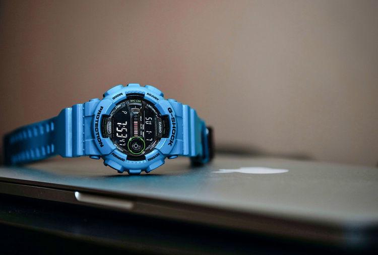 Gshock Casio Casiowatch Casio G-shock Time Watch Wristwatch Clock No People Indoors  Blue Clock Face Close-up Minute Hand