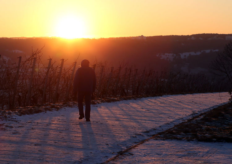 Rear view of silhouette person walking on snow covered landscape
