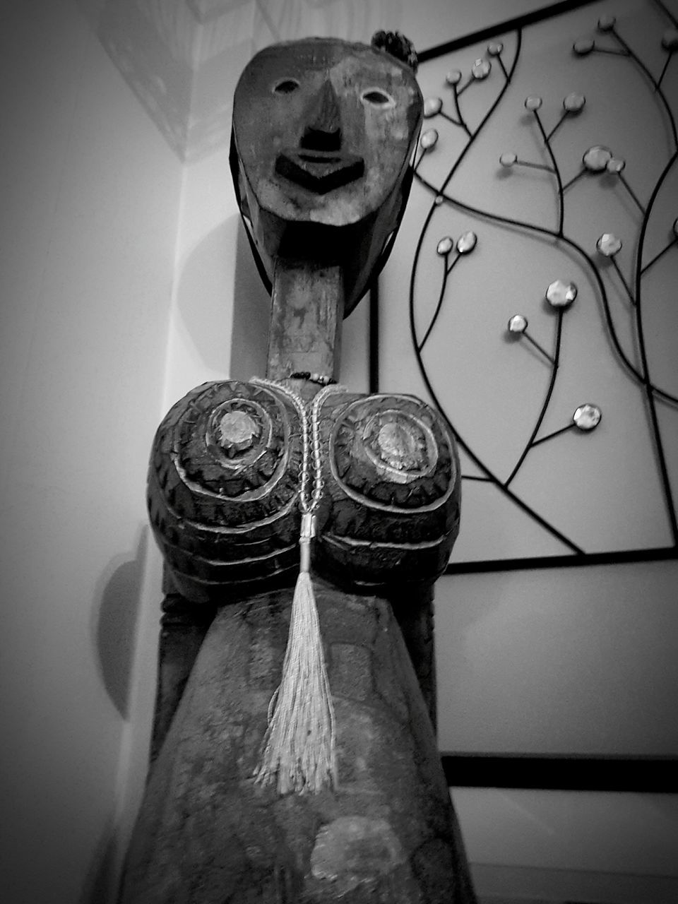 art and craft, hanging, no people, close-up, indoors, low angle view, sculpture, day