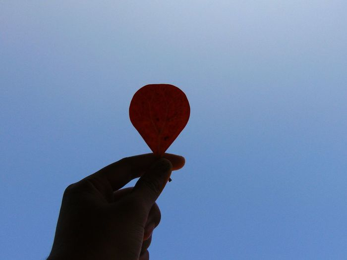 Close-up of hand holding heart shape against blue sky