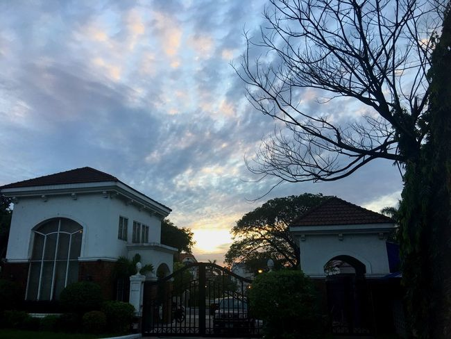 Homeward bound Sky Architecture Built Structure Cloud - Sky Building Exterior Tree No People Outdoors Sunset Nature Low Angle View Day