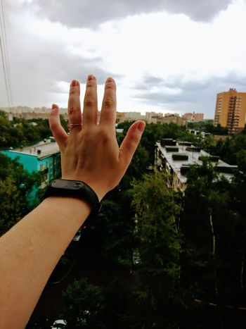 Myhand Hand Rain Clouds Cloud - Sky Sky And Clouds Sky Viweoutofmywindow Window Russia Mi Xiaomi Human Body Part One Person People Adult Adults Only Day City Architecture Human Hand