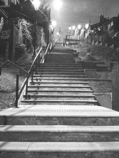 Stairs of Puerto Montt, Chile. · Upstairs Flight Of Stairs Steps Night Lights Night Photography Urban Landscape