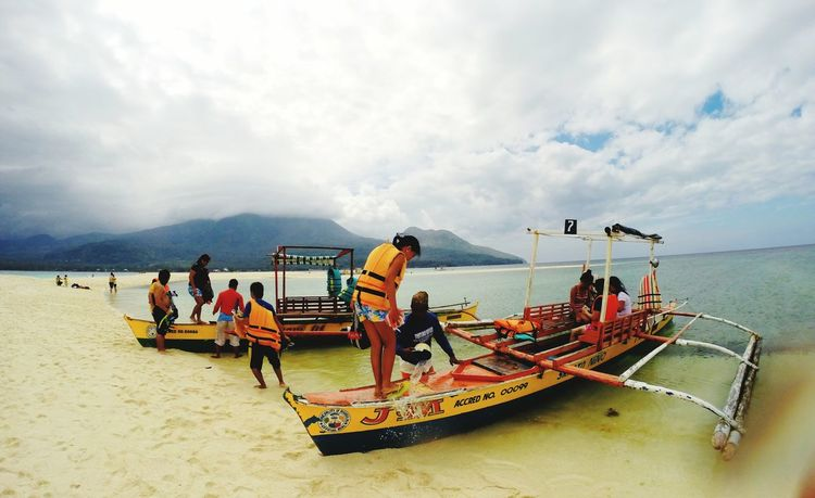 Fun in the sun! Camiguin White Island Morefuninthephilippines Funinthesun  Sea And Sky Sandy Beach Eyeem Philippines Travel Boats Swimming Time From My Point Of View