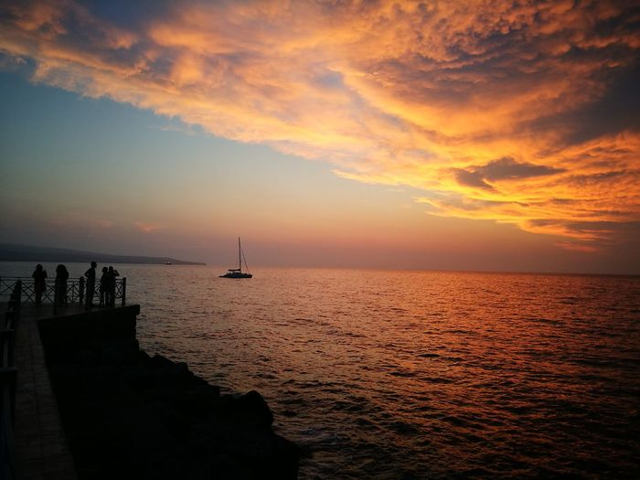 Pizzo Calabro Calabria (Italy) Tramonto Water Sea Sunset Nautical Vessel Beach Horizon Silhouette Sun Business Finance And Industry Backgrounds