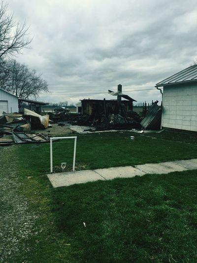 Fire Built Structure Building Exterior Cloud - Sky Burned Down Burned Building Burned Out Burned Garage