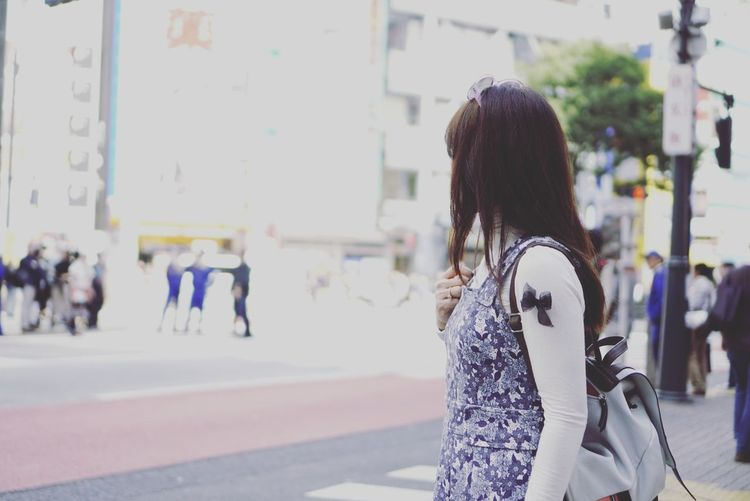 Mindless Only Women Focus On Foreground Standing Day Shibuya Tokyo Japan