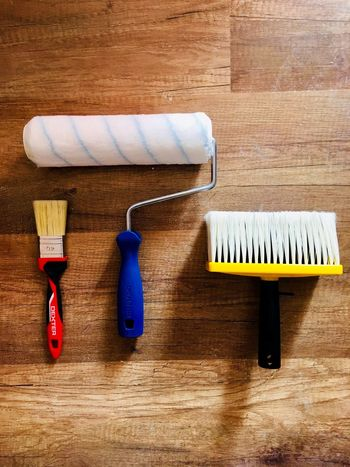 Tools Equipment Still Life Hygiene No People Indoors  Cleaning Equipment Hand Tool Paint Roller Work Tool High Angle View Broom Close-up Directly Above Cleaning Product Table Wall - Building Feature Cleaning Wood - Material Plastic Brush
