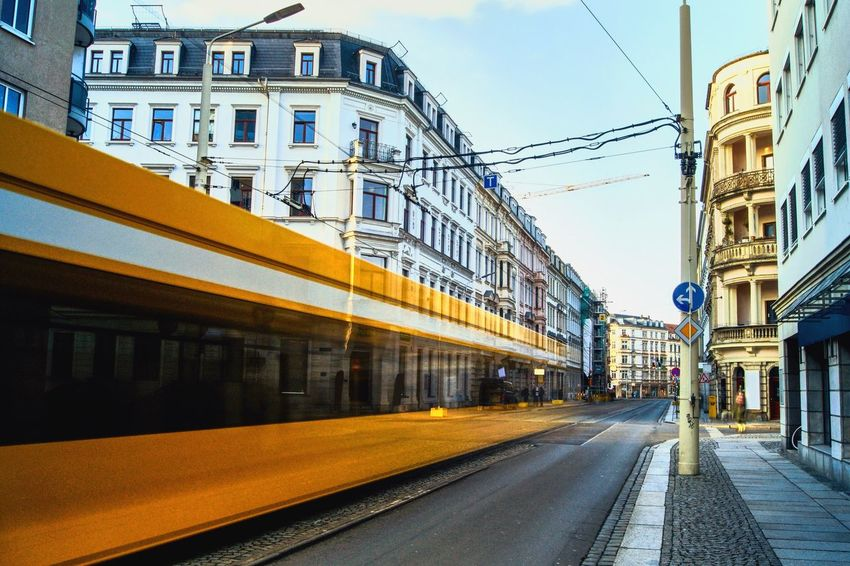 Tram in the Neustadt Wanderlust Transportation Rail Transportation Train - Vehicle Public Transportation Railroad Track Mode Of Transport Cable Architecture Sky Day Built Structure Road Outdoors Building Exterior No People City Colour Your Horizn Mobility In Mega Cities