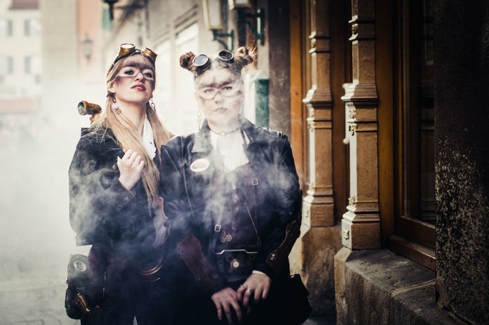 steampunk girls Carnaval Costume Fashion Grunge Makeup Old-fashioned Outdoors People Period Costume Steampunk Two People Victorian Young Adult