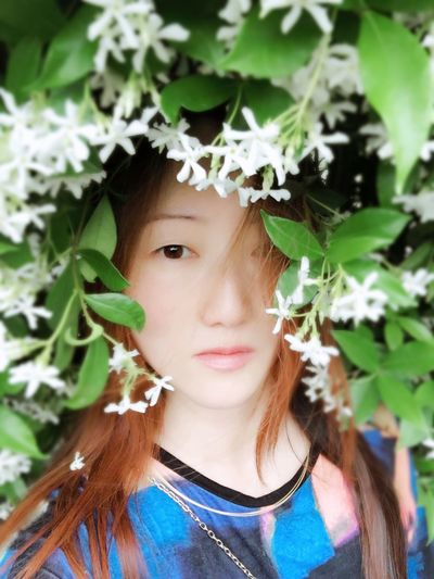 Woman Me Outdoors Long Hair Flower Portrait Headshot One Person Looking At Camera Front View Lifestyles Real People Plant Part Leaf Young Adult Beautiful Woman Green Color Close-up Plant Beauty Adult The Portraitist - 2018 EyeEm Awards The Portraitist - 2018 EyeEm Awards