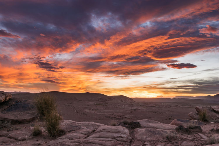 Awesome sunset in a stone desert near Talsint, Morocco not far from the Algerian border. Africa Afterglow Arid Climate Burning Sky Cloud Desert Dry Dusk Hill Landscape Morocco Nature Outdoors Rock Rocky Sun Sunset Talsint