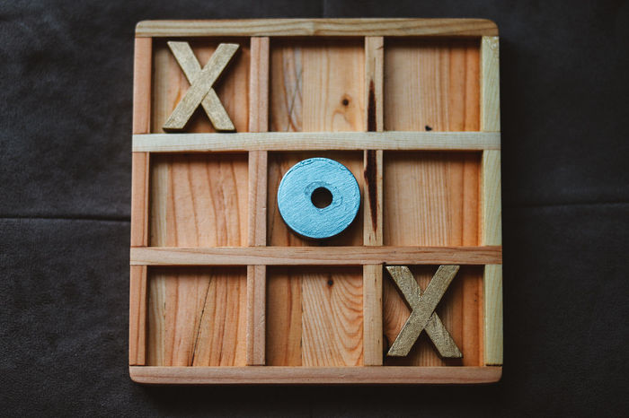 Tic Tac Toe Close-up Day High Angle View Indoors  No People Wood - Material Wood Game