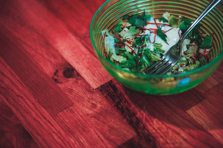 Close-up of salad in bowl on table