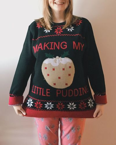 Front View Christmas One Person Knitted  Baby Bump Baby Pregnancy Pregnant Christmas Pudding