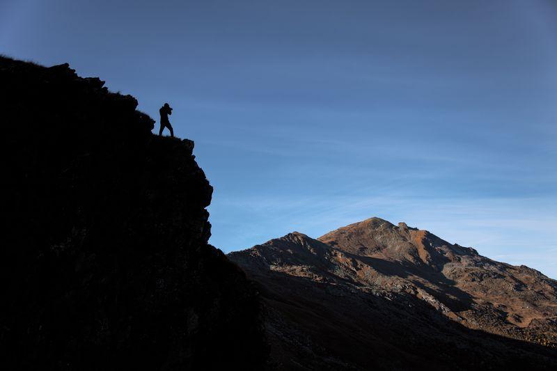 Mountain Peak Outdoors Outdoor Activity Photographer Mountain Adventure Leisure Activity Activity Rock People Lifestyles Hiking Challenge Climbing Mountain Range Silhouette
