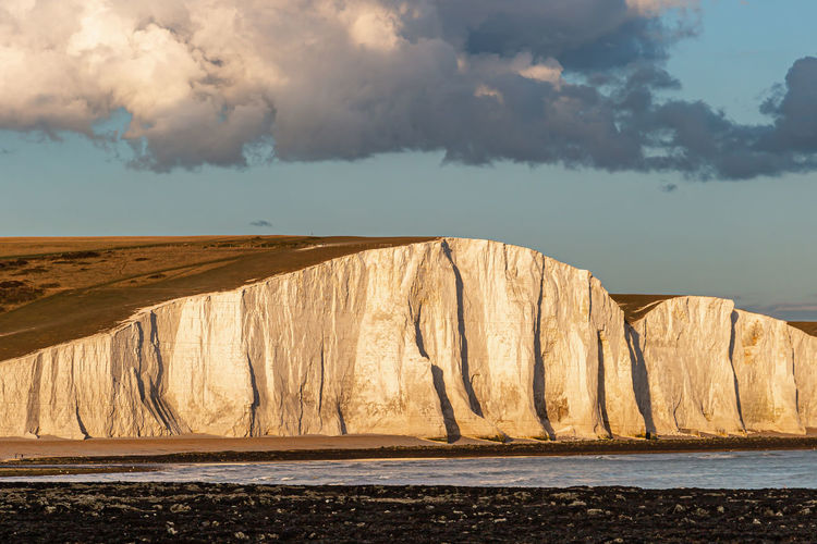 Part of the seven sisters cliffs in sussex, on a summers evening