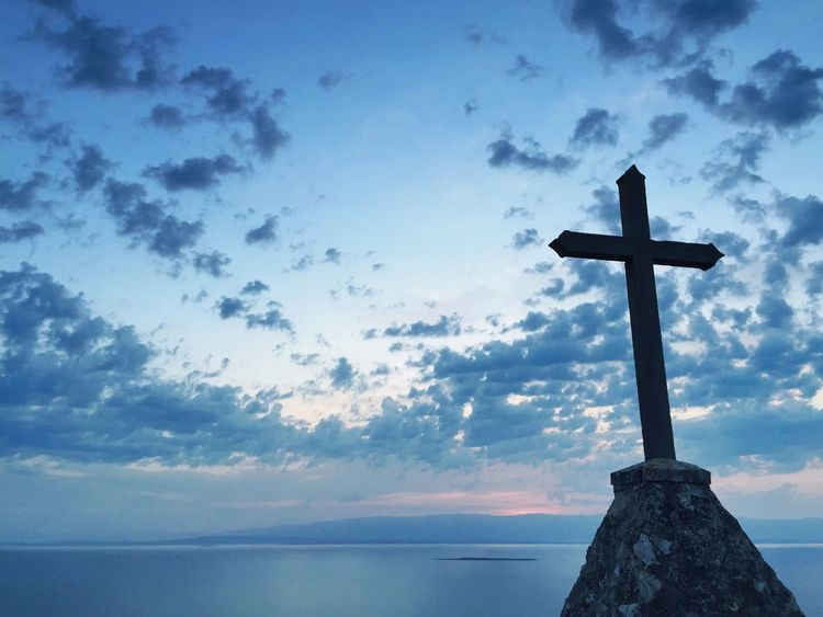"""Croatia, so help us God"". St Ivan, hill above Veli Losinj, Croatia, 2015. Cross Christianity Monument Dawn Sunrise Landscape Morning Croatia Veli Lošinj Sea Water Island Seascape Hill Blue Blue Sky Calm Peace Peaceful"
