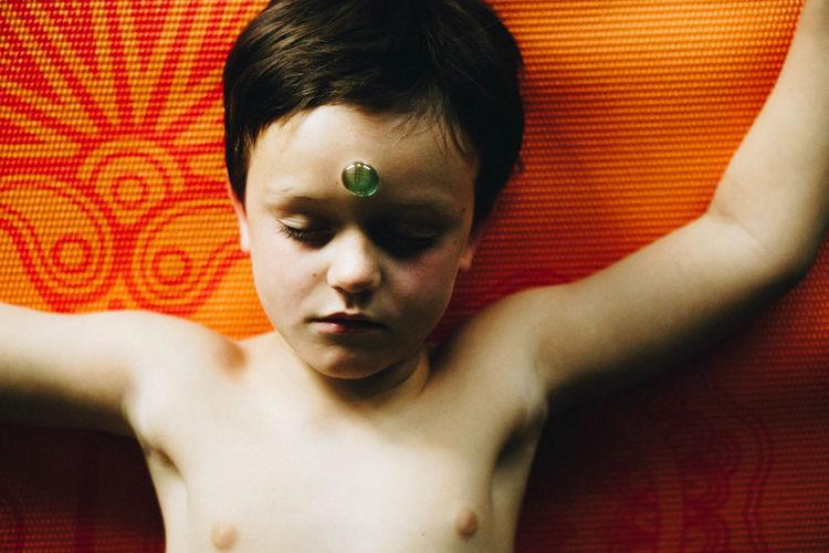 third eye Yoga Meditation Little Boy Child ThirdEye Portrait Beautiful People Multi Colored Headshot Red