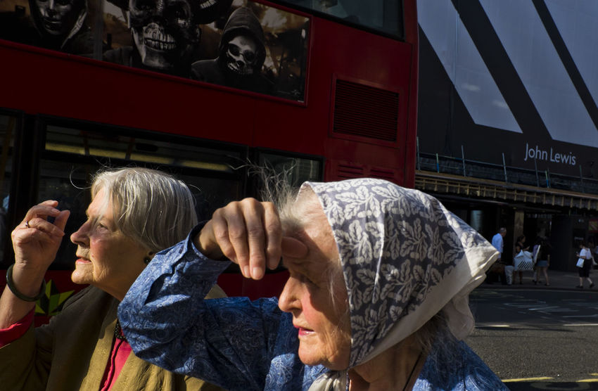 Elderly women in Oxford Street on 3rd of July 2018 in London, United Kingdom. London has a lot to offer for people of all ages and part of good elderly care is helping to keep the mind active and engaged. (photo by Lorenzo Grifantini) Adult Ageing City Elderly Headshot Lifestyles Old Oxford Street  People Portrait Women