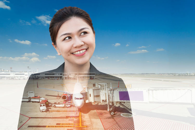Double exposure of businesswoman thinking looking up with aeroplane in airport Asian  Business Choice Copy Space Double Exposure Plane Thinking Transportation Travel Woman Abstract Airplane Airport Background Businesswoman Concept Idea Multiexposure  People Person Portrait Sky Smiling Success Young Women