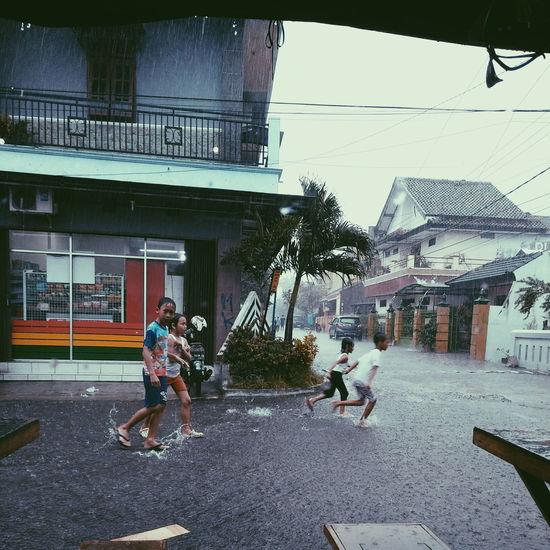 Childhood Rain Rainy Days Raindrops Outdoors Happy Time