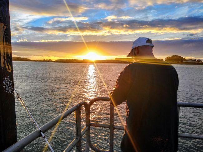 Sunset Bay Trinidad Humboldt Sky And Clouds Dad Sun Sunlight Fishing Fishing Pole No Fish Sunbeam