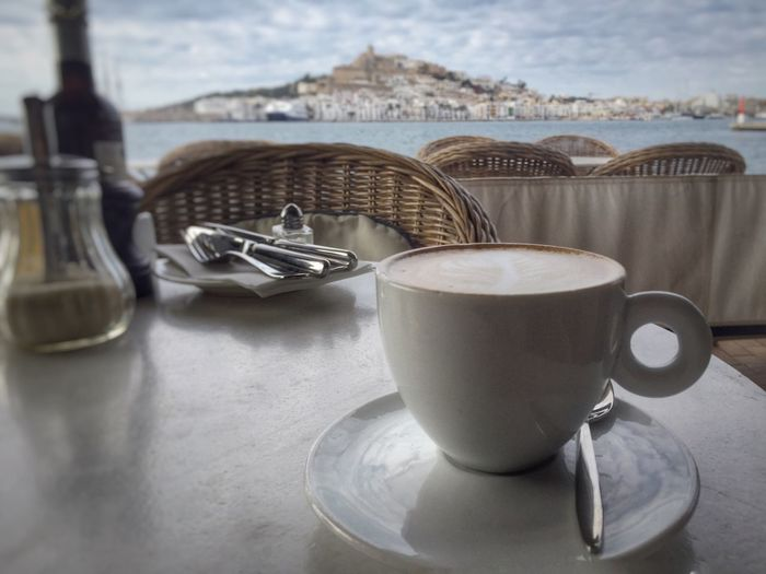 Coffee and breakfast with a view Coffee Cup Seaview Breakfast Cafe Relaxing Soft Light Hot Drink Scenic Ibiza Eivissa SPAIN Old Town Dalt Vila Tranquil My Favorite Breakfast Moment