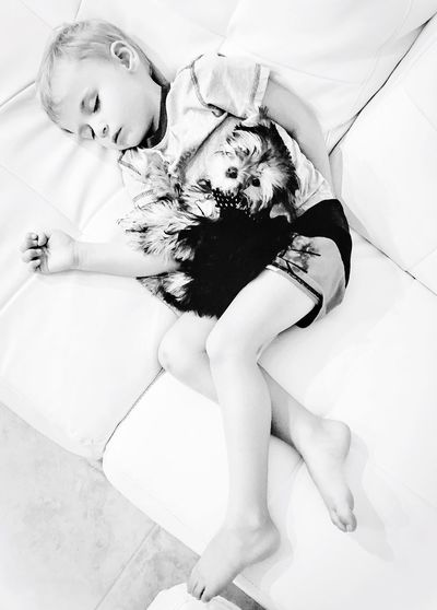 Puppy Bestfriends New Dog Day 1 Family Kid Child Todler Happy Love Sleep Tired Artistic Lines People Animals 9:30 Blackandwhite Black And White Black & White Couch Leather Son Jaxon Monochrome Photography