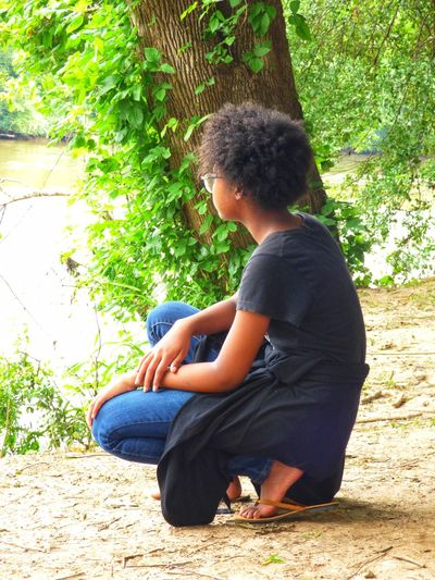 Mental Reflection Model Modeling Shoot African American African American Model African American Woman Side View Side Profile Profile Photo Profile View Gazing At Nature Gazing Profile Reflection Reflecting Thinking Pondering Pondering The Meaning Of Life Childhood Sitting Full Length Child Casual Clothing One Person Day Crouching Outdoors Nature Girls People Children Only A New Beginning