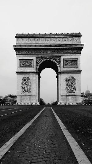 Blackandwhite Paris, France  Without Cars Champs-Élysées  Champs Elysees Champselysées Triumphal Arch Arch Of Triumph Arc De Triomphe Paris France Original Point Of View