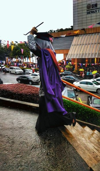 Graduate Graduationday Raining Day Potrait Of Woman Purple Crowded