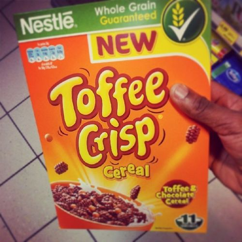 OhMyGoodGodICantGetThisInsideOfMeFastEnough 0_0 ToffeeCrisp Cereal for Breakfast how is it possible to have a s@t day after that! Shame Nestle are evil :( Note how I didn't hashtag Nestle I don't want them coming after me...whoops! Bring it Nestle, BRING ITTTTTT!!!!