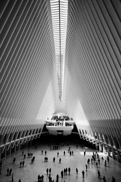 Architecture Blackandwhite Crowd Indoors  Light And Shadow Modern Modern Architecture New York NYC Trip Westfield World Trade Center World Trade Center First Eyeem Photo The Architect - 2017 EyeEm Awards