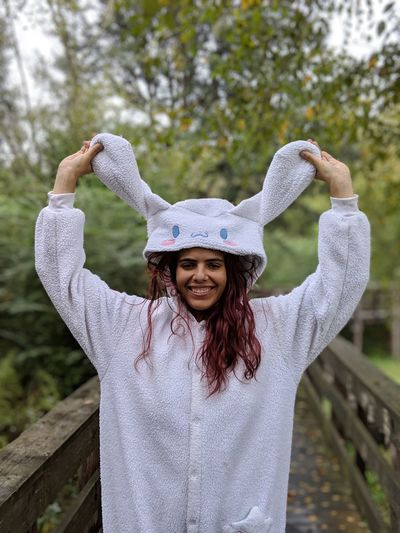Cinnamoroll Fights Cancer 14 Dyed Red Hair Dyed Hair Pixel 3 Xl Park Park - Man Made Space Cinnamoroll Cinnamoroll Kigurumi Kigurumi Portrait Smiling Tree Women Happiness Cheerful Wool Young Women Looking At Camera Long Hair Arms Raised Arms Outstretched