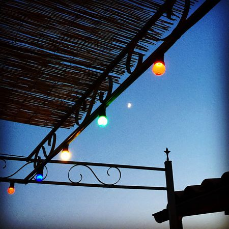 Lighting Equipment Low Angle View Illuminated Moon Clear Sky Outdoors No People Night Sky IPhoneography Blue