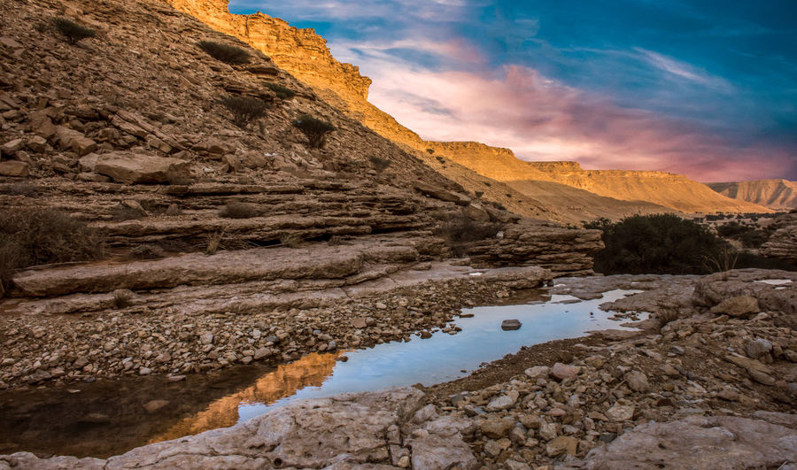 the mountains Azzydoon Beauty In Nature Cloud - Sky Eroded Formation Geology Lake Mountain Mountain Range Nature No People Non-urban Scene Outdoors Physical Geography Reflection Rock Rock - Object Rock Formation Saudi Scenics - Nature Sky Solid Tranquil Scene Tranquility Water
