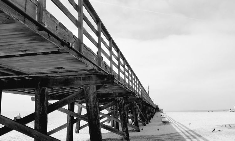 Pier Black And White Built Structure Architecture Cloud - Sky Sand Nature Water Outdoors Detail Pattern, Texture, Shape And Form Copy Space Shadow And Light Check This Out Street Photography Still Life Photography Fine Art Photography Simplicity Minimalism Depth Beauty In Nature Meditation Simple Visual Creativity Summer Exploratorium