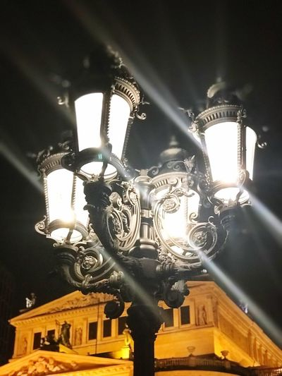 Iphonephotography Frankfurt Opera House Lights Low Angle View Lighting Equipment Illuminated Architecture No People Ornate Built Structure Building Exterior City Sky Travel Destinations Night Close-up
