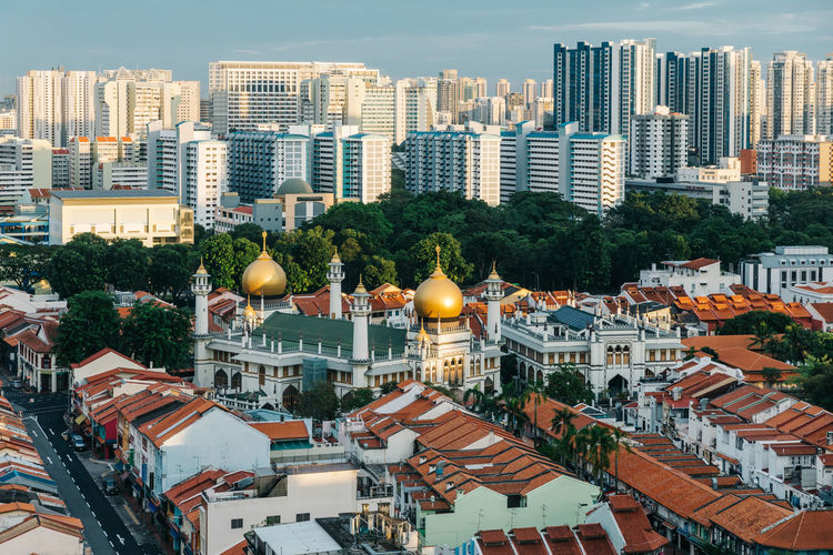 High angle view of townscape against sky, kampong glam, singapore
