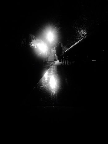 Night Illuminated Real People Silhouette Outdoors Monochrome IPhoneography Nightphotography Lighting Equipment Light And Shadow Blackandwhite Black And White Blackandwhite Photography
