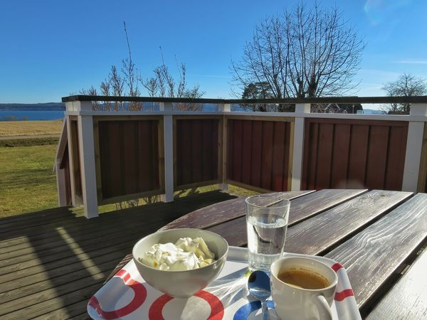 Enjoying The Sun Amazing View Lake View Landscape In My Garden Espresso Fresh Fruit Wipped Cream Outdoors Sunny Spring