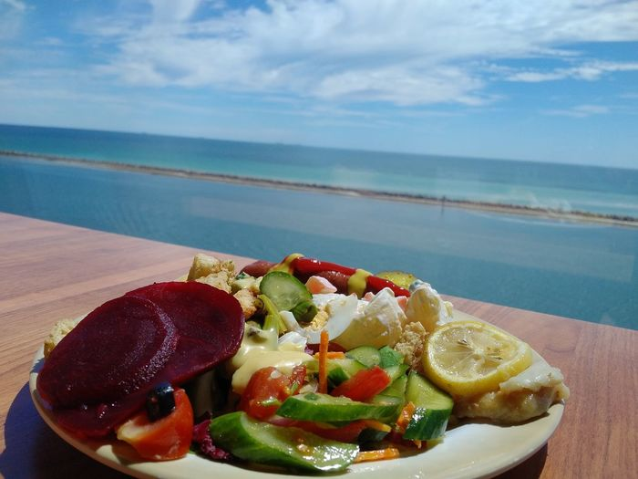 Food Healthy Eating Sea Horizon Over Water Food With A View Salad Salad Time