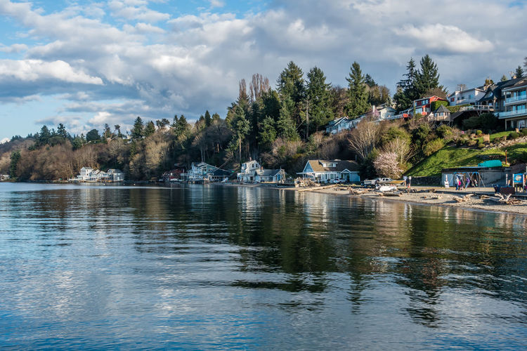 A view of the shoreline at Dash Point, Washington. Tranquility Beauty In Nature Cloud - Sky Dash Point Day Moored Nature Nautical Vessel No People Outdoors River Scenics Sea Shoreline Sky Tranquil Scene Tranquility Tree Water Waterfront Waterfrontview