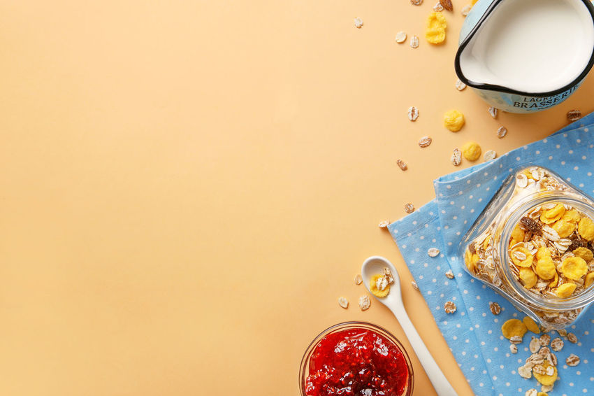 Healthy breakfast copy space. Milk, cereals and jam. Top view Background Breakfast Cereals Copy Space Delicious Flat Lay Ingredients Jam Marmalade Meal Milk Natural No People Pastel Top View Top View Of Food