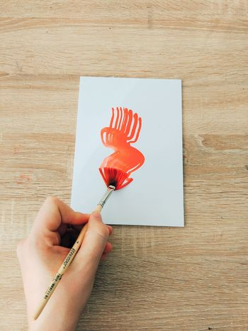 One Person Sunlight Red Human Hand Color Colourful Painter Paint Hand Fun Creative Brush Brushes Wood Minimal Paper