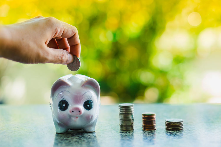 Close-up Coin Currency Day Finance Focus On Foreground Holding Human Body Part Human Hand Indoors  One Person People Piggy Bank Real People Savings Wealth