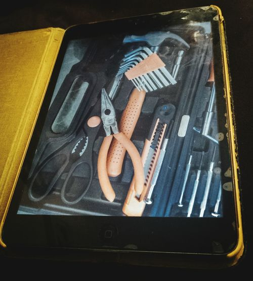 Close Up Technology Yellow No People Close-up Tools Tablet Gadget New Tools Technology Old And New Inside Allegory Conceptual Portable Device Full Of Tools