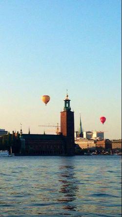 City Hall Stockholm, Sweden Baloons Blue Sky